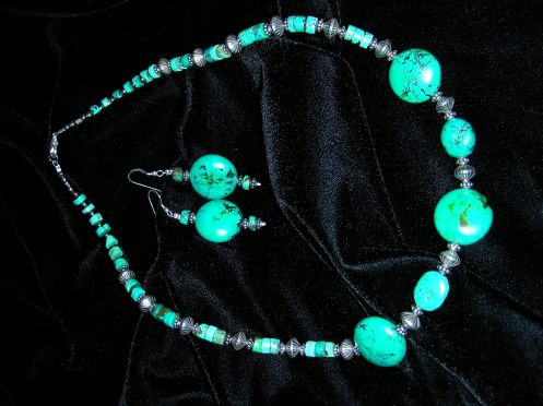 Betina's Tibetan Turquoise Necklace 22inches & Earrings  2008