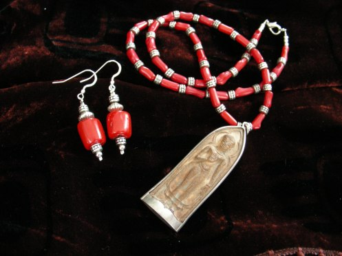 "Earrings Red Coral  -  Thailand Buddha  Necklace   - Buddha 3""    Length 22"""