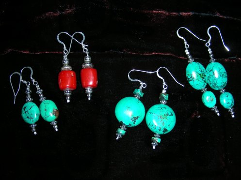 Tibetan Turquoise & Red Coral Earrings - Designs of December 2008
