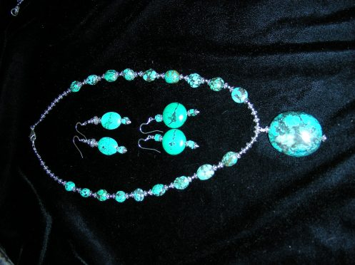 Tibetan Turquoise Tear Drop Necklace & Earrings Jan 2009