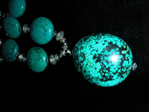 Turquoise Tear Drop Necklace Close Up