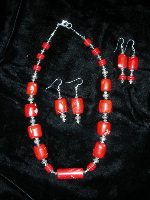 Red Coral Necklace & Earrings