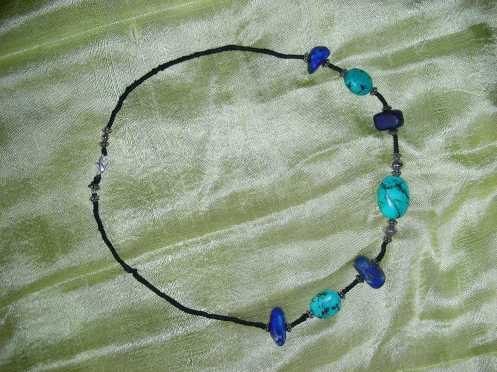 Rochelle's Turquoise & Lapis Lazuli - Hand Knotted necklace