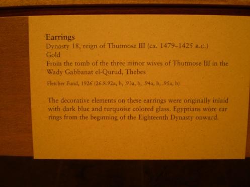 Earrings - reign of Thutmose III Description - Egyptian Jewellery