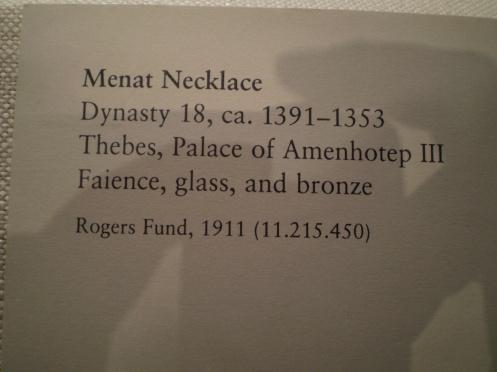 Menat Necklace Description - Egyptian