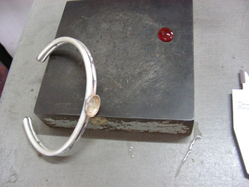 Ankle Bracelet ~ Two solid silver pieces soldered together