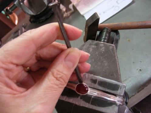 Ankle Bracelet ~ work in progress finishing bezel