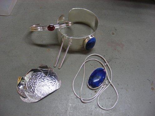 Silver Lotus Flower Pendant, Lapiz Pendant, Ankle Bracelet & Ralph's Cuff (1-1/4 in width)