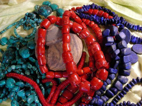 Tibetan Turquoise, Red Coral, Lapiz Lazule ~ Semi-precious Treasures