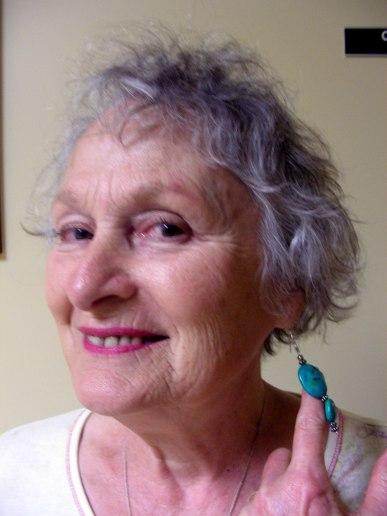 Marjorie  Sparkling in  Tibetan Turquoise Earrings - Island Bridges Retreat2010