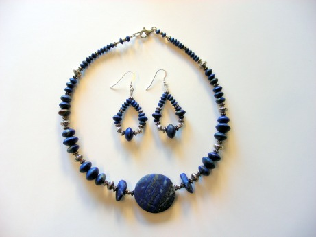 Stella's  Lapis Lazuli Necklace Features Hand Carved Lotus Flower & Earrings