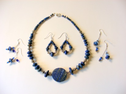 "Stella's 20""  Lapiz Lazule Necklace Set  with 3 Pairs of Earrings"