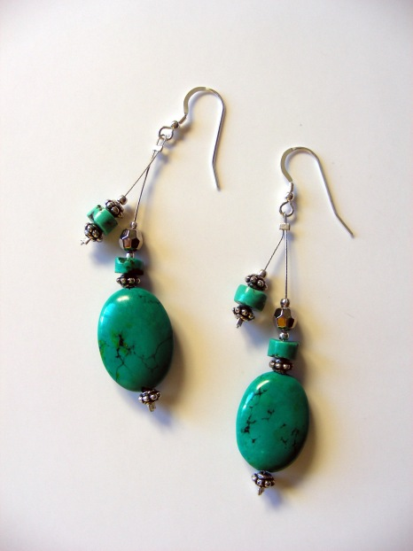 Tibetan Turquoise Earrings       Length:  2-3/4 inches