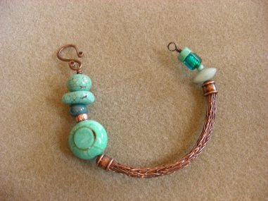 Heather's Copper & Tuqoise Beads Viking Knit Bracelet