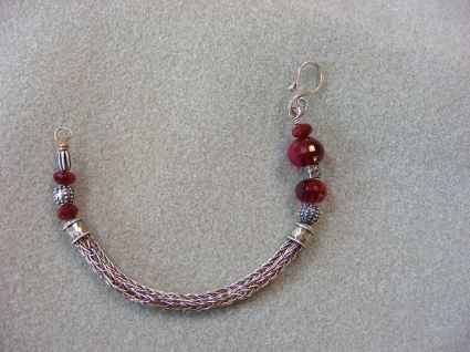 Lucy's  Silver Viking Knit with Ruby Quartz Beads Bracelet