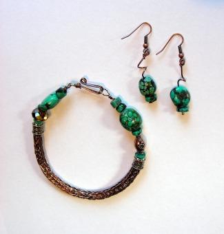Copper & Turqoise Viking Knit Bracelet Set