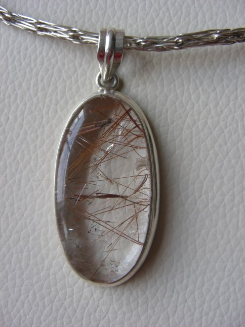 Pendant of Quartz Crystal w Copper Threads ~ Close Up Detail