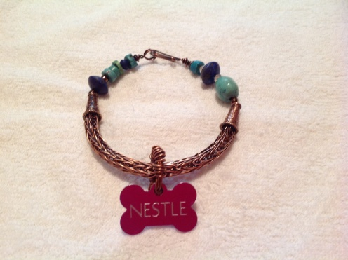 Nestlé Hanslip .... Chihuahua Diva Jewellery... Nestle's Copper Viking Weave Necklace + Dog Tag